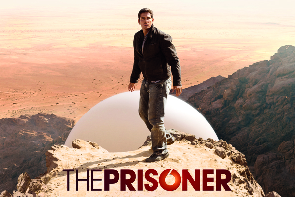 The Prisoner. Six on top of the mountain with Rover behind him.